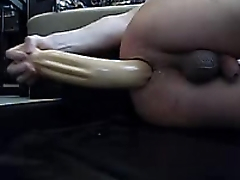 Stretching anal giant long dildo