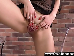 Exotic looking babe has fun in this pissing chapter
