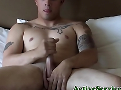 Buff sailor tugging his cock