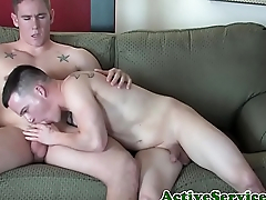 Muscly sailor jerking broad in the beam cock