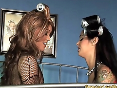 Busty whore wears strapon all round fuck luscious tranny Giselle T