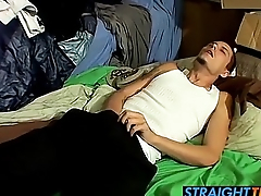 Horny Bently loves to jerk his hard dick on futon periphery
