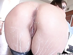 Milkfetish babe squirt enema in kitchen
