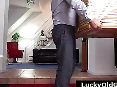 FFM threesome for older British dude with sexy MILF in stockings