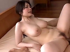 Sexy Rie Tachikawa shakes tits while having it away hard