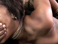Ebony submissive open mouth gagged