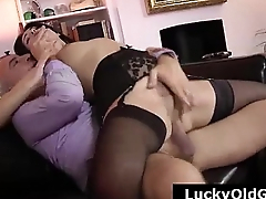 Older British dude fucking young slut in stockings and heels