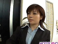 Yukino about uniform gives blowjob to mailman and gets cum on mouth