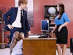 Lena Paul in election threesome with two top brass with the addition of a sexy employee