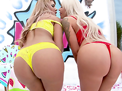 Raunchy FFM scene with two filthy MILFs - Mercedes Carrera & Nina Elle