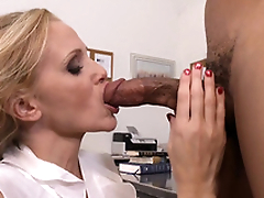 Teacher with big tits Julia Ann gags on student's black load of shit in class