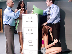Boss' unpropitious stepdaughter Ariana Marie gives worker blowjob in office