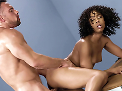 Mom Misty Stone receives fucked leaning on the table