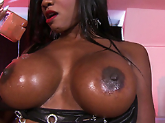 Diamond Jackson give him massage using her big boobs only