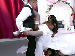 Mature glowering bride Diamond Jackson getting fucked on a table
