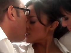 Beautiful Oriental and Tory Lane Sharing Some Man rod