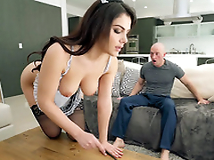 Valentina Nappi in french jail-bait uniform is cleaning the house