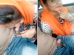 Indian Girl Sucking lover Dick On Car