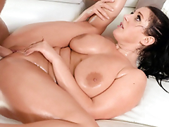Shaved pussy of Angela White is filled with man's hard XXX tool