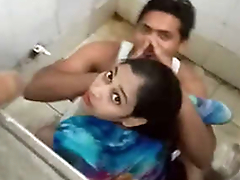 Desi boy fucking his girlfriend in public toilet & Caught by public