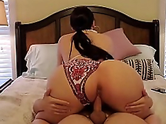 Mom with gigantic ass brings the pervert to the bedroom for XXX action