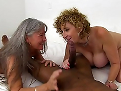 Busty Sara Jay and her old mom pamper themselves surrounding black XXX staff