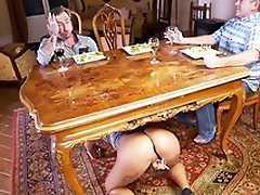 Curly whore Venus Afrodita climbs unbefitting the table for XXX sucking